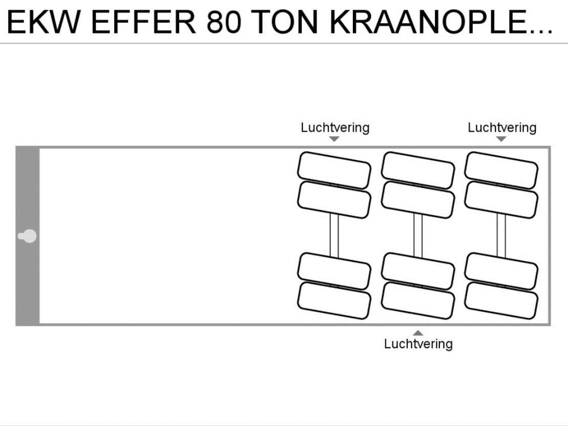 flatbed semi trailer EKW EFFER 80 TON KRAANOPLEGGER 2000