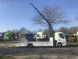 crane truck DAF LF 220 euro 6 oprijtruck met Hiab kraan 2014