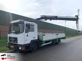 platform truck MAN 12.192 open laadbak met Hiab 045-1 autolaadkraan 1994