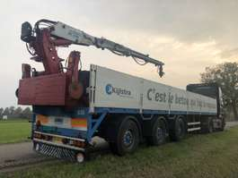 flatbed semi trailer Pacton Steenoplegger + kennis kraan 2000