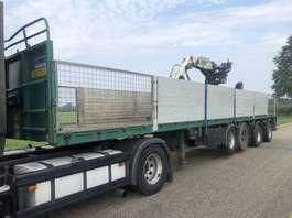 flatbed semi trailer Pacton 4 as steenoplegger + 16tm kennis kraan 2003