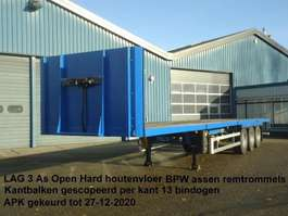 flatbed semi trailer Lag LAG 3 As Open oplegger Hard houtenvloer zeer mooi 2008