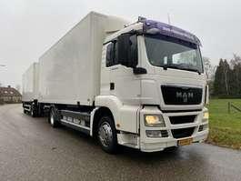 closed box truck MAN TGS 18.320 BAKWAGEN MET LAADKLEP COMPLEET MET 2-ASSIGE AANHANGWAGEN 2008