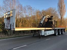 flatbed semi trailer Nooteboom Nooteboom steenoplegger 3asser + Kennis 16t/m kraan 2005