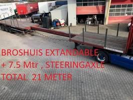 flatbed semi trailer Broshuis Staal trailer , 7.5 mtr uitschuif  , stuuras , dik randprofiel , rongen 1995