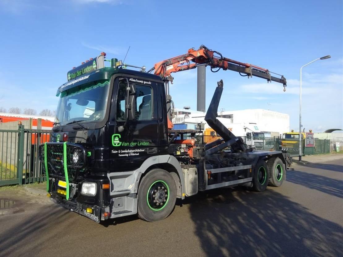 container truck Mercedes-Benz ACTROS 2636 6 X 4 !! HOOK + ATLAS CRANE !! KEURING 2021 !! 2005