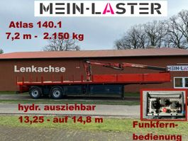 drop side semi trailer Kran Atlas 140.1  2.150 kg- 7,2 m * Funk FB