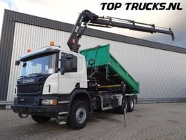 tipper truck > 7.5 t Scania P410 6x4 - Hiab 188 ES-3 Kraan Crane Kran, 3 side tipper 2015