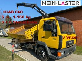 tipper truck > 7.5 t MAN 10.163 Meiller + Hiab 060  5m-1.25t 5+6 S.Kreis