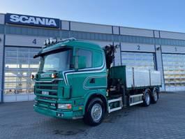crane truck Scania 124 6x2 Grua Palfinger PK21000 5 lancas Basculante 3 lados 2002