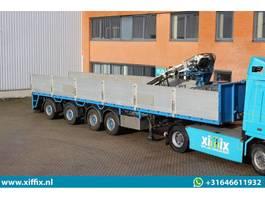 flatbed semi trailer Pacton 4-ass. Steenoplegger met Kennis 14 ton/mtr. Kraan 2003
