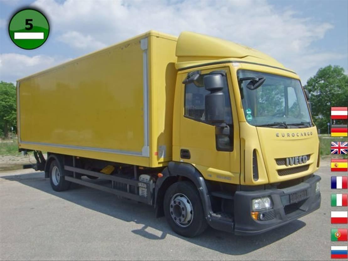closed box truck > 7.5 t Iveco EuroCargo ML 120 E28/P AHK LBW Koffer 6,90x2,45x 2010