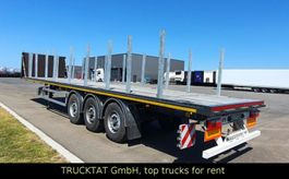 flatbed semi trailer Kaessbohrer SPS3, Steckrungen, Überbreite-Paket, Liftachse 2020