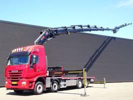 platform truck Iveco AS 320S50 8x2 E5 / HIAB 85 t/m + jib KRAN / CRANE 2010