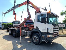 container truck Scania 94G-310 6x2 HOOKSYSTEM + CRANE PALFINGER PK13500 - STEEL SPRING / LAMES ... 1997