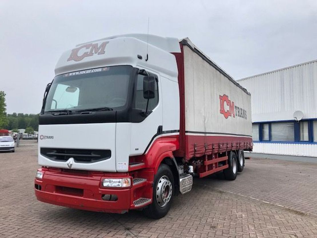 closed box truck > 7.5 t Renault 385 POMP MANUEL 6x2 10 TYRES 1998
