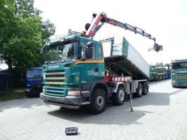 tipper truck > 7.5 t Scania R420 8X2 Kipper mit Kran HMF 2620 K5 2006