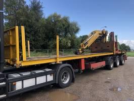 flatbed semi trailer Nooteboom Uitschuifbare oplegger + Hiab R 300 F3 1996