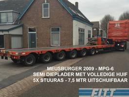 semi lowloader semi trailer Meusburger MPG-6 / 6ass semi, 5x stuuras, 7,50 mtr uitschuifbaar, huif/schuifkap 2009