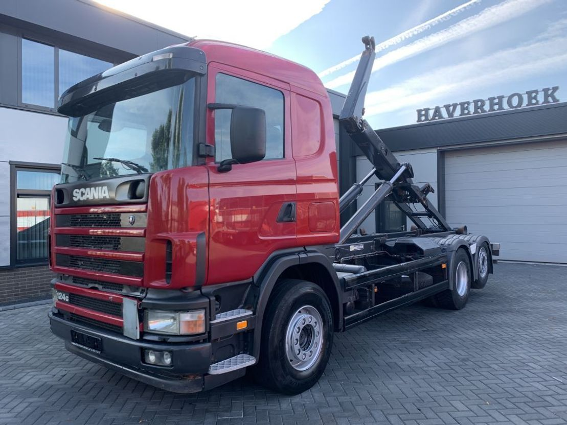 container truck Scania 124 G 420 6x2 Meiller Hooklift lift/steering axle 2004
