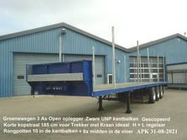 flatbed semi trailer Groenewegen DRO - 12 - 27 3 As Open Oplegger Zware UNP kantbalken + Korte Kopstraal Gescopeerd 1991