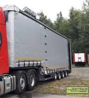 semi lowloader semi trailer Meusburger 4-Achs-Jumbo-Sattelauflieger mit Planenaufbau 2018
