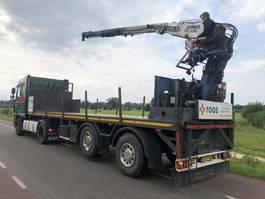 flatbed semi trailer Pacton 2 as Stenentrailer/kraanoplegger met kennis kraan 2000
