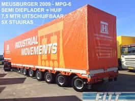 semi lowloader semi trailer - MPG-6 / 6ass semi, 5x stuuras, 7,50 mtr uitschuifbaar, huif/schuifkap 2009