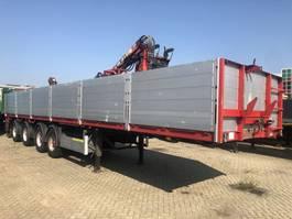 flatbed semi trailer Floor 4 as Kraanoplegger + Hiab kraan 130F2 2005