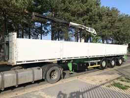 flatbed semi trailer LAG 3-as STEENOPLEGGER + KRAAN KENNIS 14.000 - 2x EXT + ROTATOR -  2x STUURA... 2007