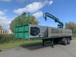 flatbed semi trailer GS Meppel steentrailer 2 asser + hiab roller 150 1981