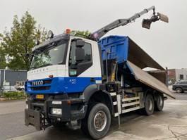 tipper truck > 7.5 t Iveco TRAKKER AD380T41W EEV 6X6 MET HYVA 2 WAY TIPPER + HMF 1643-Z2 2010