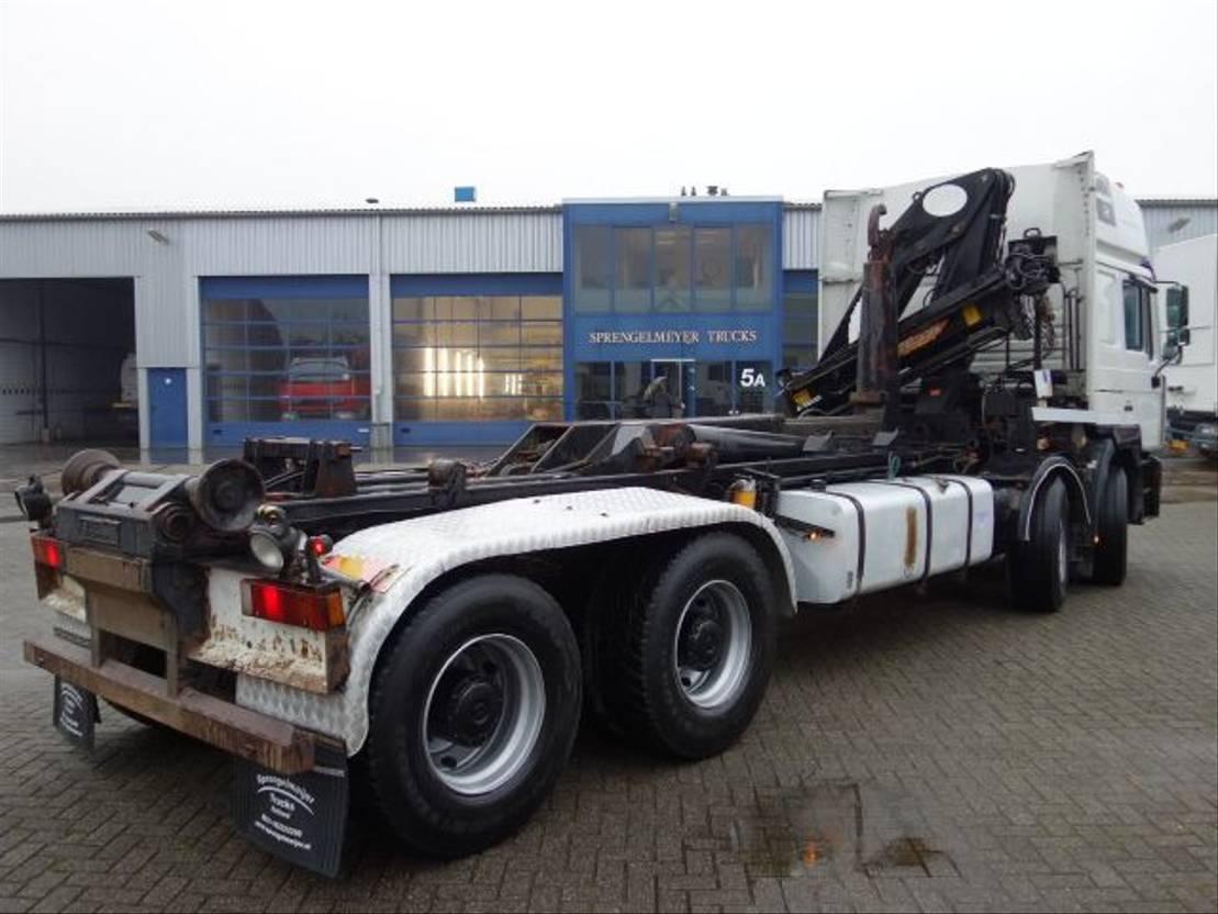 Container-LKW MAN 35-463 8x4 16 ton kraan en haaksysteem 1999
