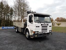 drop side truck Scania P92H plateau avec grue hiab type 081AW 1988