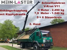 tipper truck > 7.5 t MAN 18.280   V-Kran 7,9m-1.240 kg 5+6 Steuerkreis
