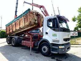 container truck Renault PREMIUM 385 - 6x2 AMPLIROL + GRUE HMF 680 / ABROLLKIPPER + KRAN HMF 680 / ROLL OFF TIPPER + CRANE HMF 680 / GANCHO + GRUA HMF 860 1998