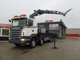crane truck Scania R 420 8X2 PLATFORM FOR BOATS TRANSPORT / CONTAINER / PALFINGER 2006
