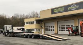 semi lowloader semi trailer Faymonville 3-Achs-Tele-Semi mit hydraul. Rampen 2020