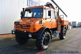 drop side truck Mercedes-Benz Unimog U 5000 L 4x4 DoKa Atlas Kran 120.2E AHK 2007