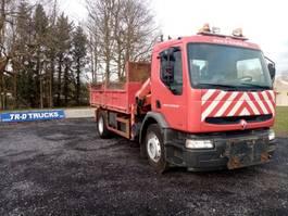 tipper truck > 7.5 t Renault premium 260 benne avec Grue palfinger pk8080 1999