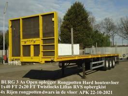 flatbed semi trailer Burg BURG 3 As Open oplegger Hardhoutenvloer Twistlocks Rongpotten Liftas 2000