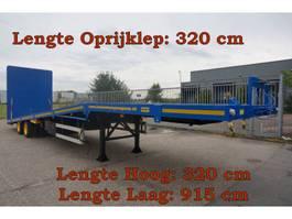 flatbed semi trailer Broshuis E-2846 2 As Oplegger Dieplader Open, OX-23-49 1977