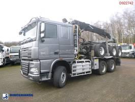 crane truck DAF XF 105 510 6x4 + Loglift F281S83 crane / timber truck + dolly 2012