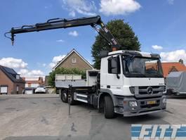 drop side truck Mercedes-Benz ACTROS 2541 LTNLA 6x2, open laadbak, Hiab 166 + aansluit meeneemheftruck 2012