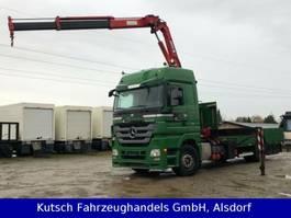 drop side truck Mercedes-Benz 1844L Actros MP3 Plateau/Transporter + Kran 2009