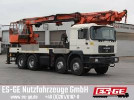 platform truck MAN 4-Achs-LKW 35-414 mit Atlas Ladekran 600.1 1999