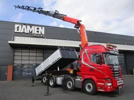 crane truck Scania R 620 LB 8x2 V8 Kipper / Kraan 2014