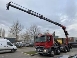 crane truck Mercedes-Benz Actros 3241 8X4 FULL STEEL MET HIAB HOOKLIFT + HMF 2420 MET REMOTE 2011