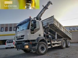 tipper truck > 7.5 t Iveco Trakker 450 6x4 Kipper + kraan HIAB euro5 2007