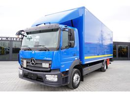 closed box truck Mercedes-Benz Atego 1221 , E6 , 18 EPAL box , tail lift , retarder , 2016